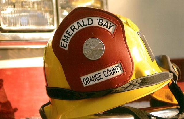 A helmet worn by Emerald Bay fire protection